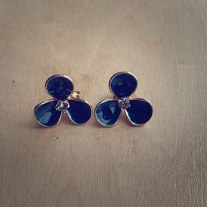 J Crew Petite Petal Earrings in Navy